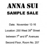 Anna Sui Sample Sale November 2012